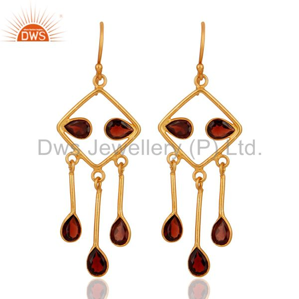 Designer Natural Garnet 925 Sterling Silver Indian Gold Plated Earrings