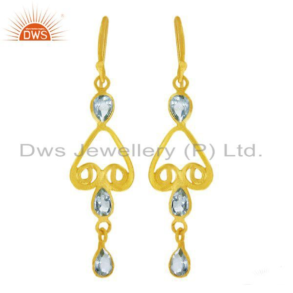 18K Yellow Gold Plated Sterling Silver Blue Topaz Gemstone Dangle Earrings