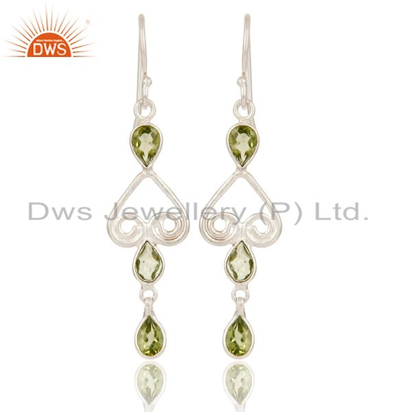 Mothers Day Gifts Handmade Solid 925 Sterling Silver Peridot Gemstone Earrings