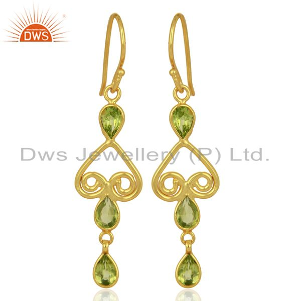 Mothers Day Gifts Handmade Gold Plated Sterling Silver Peridot Gemstone Earring
