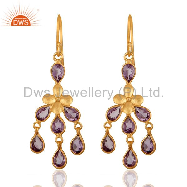 925 Sterling Silver Designer Amethyst Gemstone Chandelier Fashion Earrings