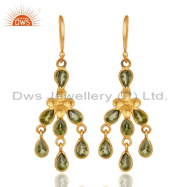 18K Yellow Gold Plated Sterling Silver Peridot Gemstone Chandelier Earrings