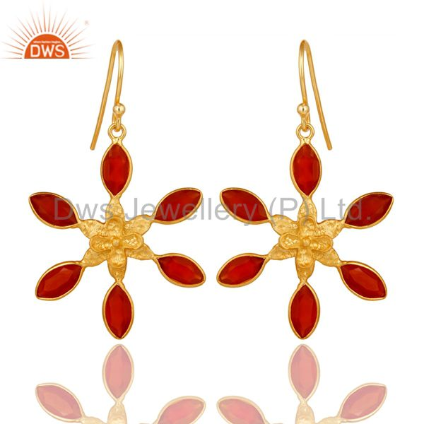 18K Gold Plated Sterling Silver Handmade Red Onyx Gemstone Bezel Set Earrings