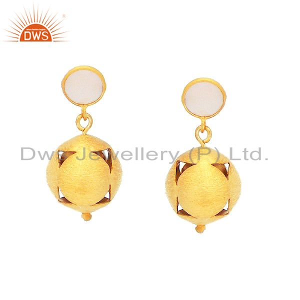 24K Gold Plated Sterling Silver Chalcedony Spheres Designer Dangle Earrings