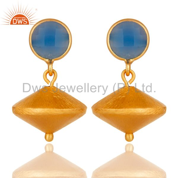 24K Yellow Gold Plated Sterling Silver Matte Blue Chalcedony Dangle Earrings