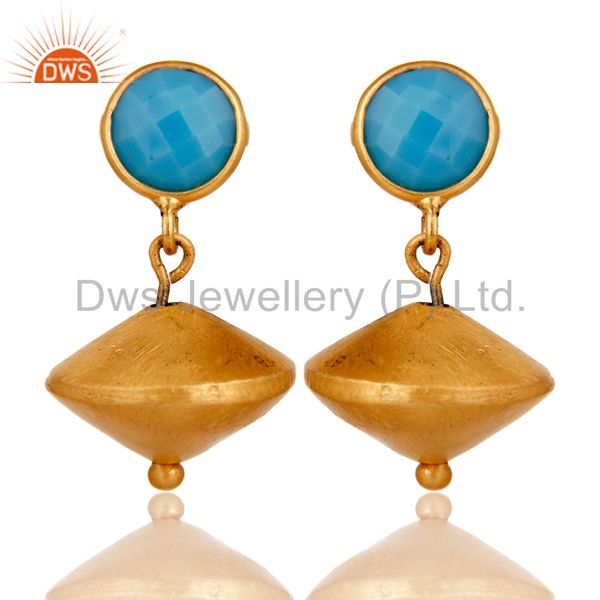 Turquoise Cultured 24K Yellow Gold Plated Sterling Silver Matte Dangle Earrings