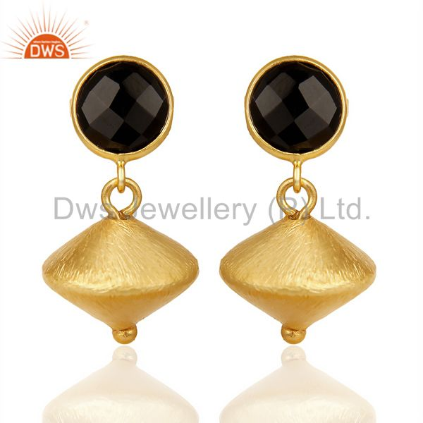 Black Onyx Post Stud Gold Plated 92.5 Sterling Silver Bead Hanging Earring