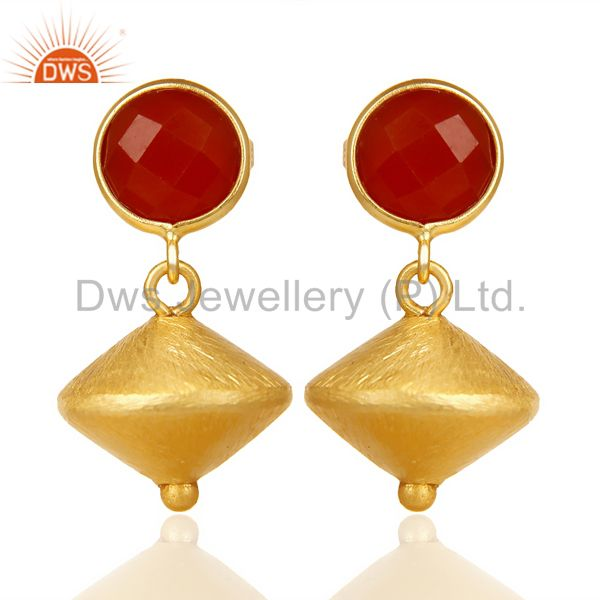Red Onyx Post Stud Gold Plated 92.5 Sterling Silver Bead Hanging Earring