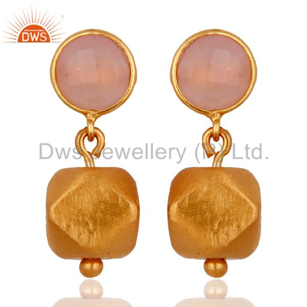 18K Gold Plated Sterling Silver Rose Quartz Dangle Fashion Earrings for women