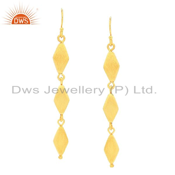 24K Matte Yellow Gold Plated Sterling Silver Unique Designer Dangle Earrings