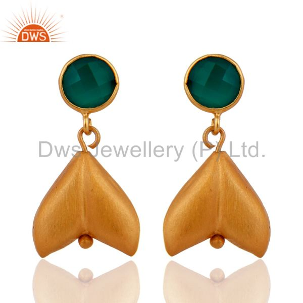 Hadnmade 925 Sterling Silver Gold Plated Green Onyx Gemstone Designer Earrings