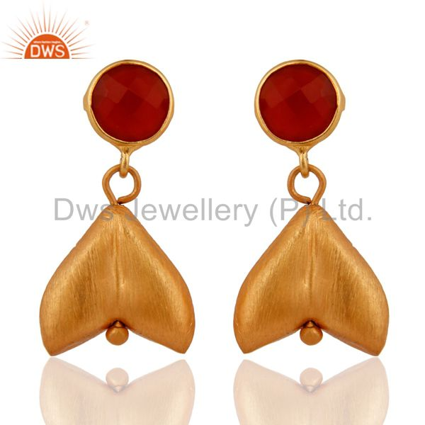 Designer Gold Plated Sterling Silver Natural Red Onyx Gemstone Dangle Earrings