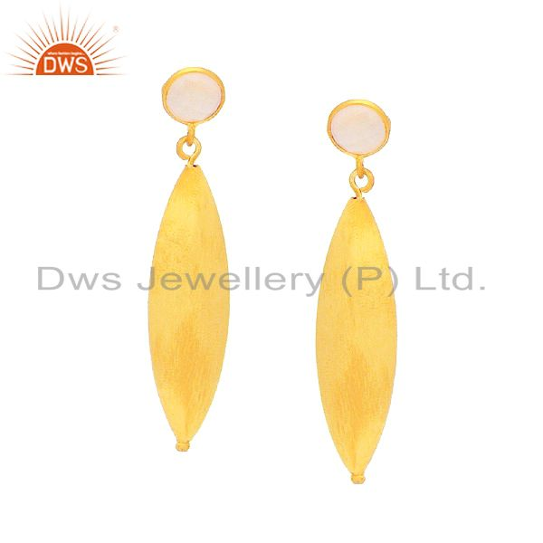14K Gold Plated Sterling Silver Brushed Finish Rose Chalcedony Dangle Earrings