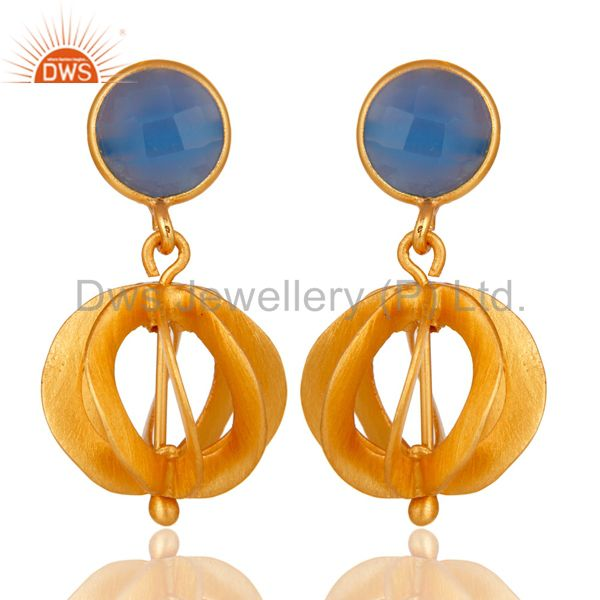 24K Yellow Gold Plated Sterling Silver Blue Chalcedony Designer Dangle Earrings