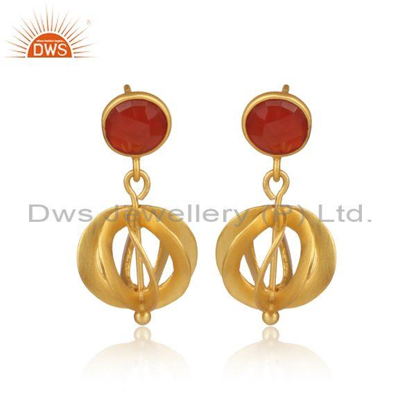 Round Carnelian Set Gold On 925 Silver Traditional Earrings