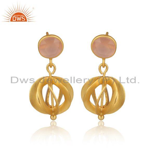Round Rose Chalcedony Set Gold On 925 Silver Ethnic Earrings