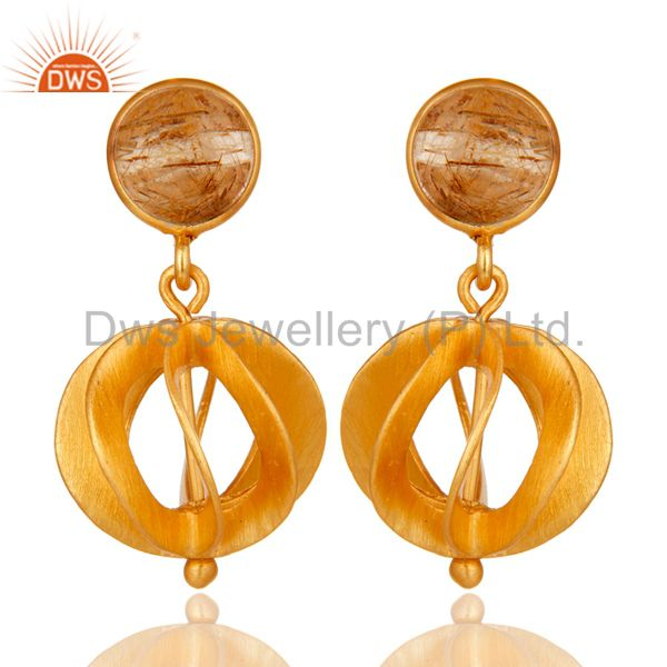 24K Yellow Gold Plated Sterling Silver Yellow Rutile Designer Dangle Earring