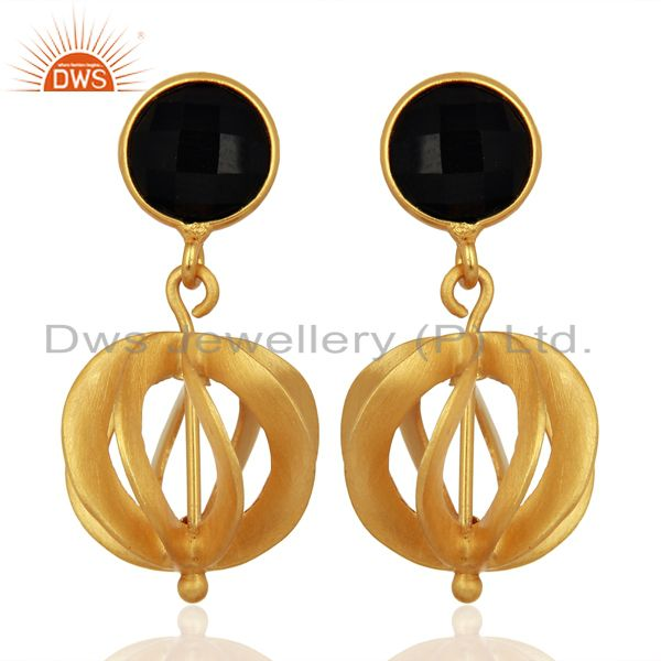Black Onyx Gemstone Filigree Ball Sterling Silver 18k Gold Plated Dangle Earring