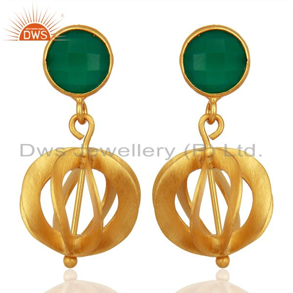 Green Onyx Gemstone Filigree Ball Sterling Silver 18k Gold Plated Dangle Earring
