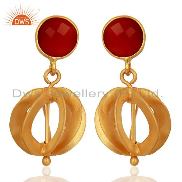 Red Onyx Gemstone Filigree Ball Sterling Silver 18k Gold Plated Dangle Earring