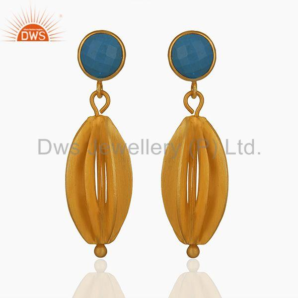 Blue Chalcedony Gemstone Gold Plated 925 Silver Drop Earring Wholesale