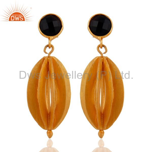 Handmade 925 Silver Black Onyx Gemstone Gold Plated Brushed Designer Earrings