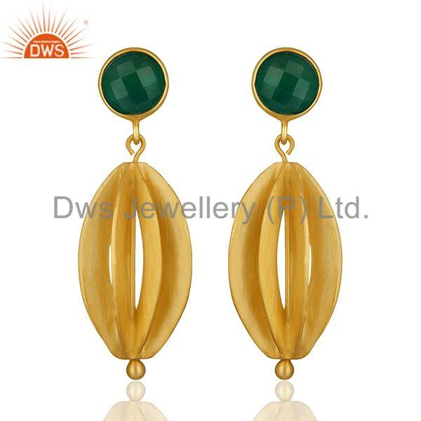 Checkerboard Green Onyx Gemstone Silver Dangle Earring Manufacturers