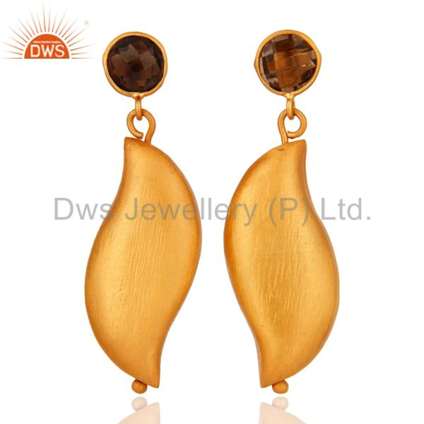 Natural Smoky Quartz Brushed 925 Sterling Silver Earring With 22k Gold Plated