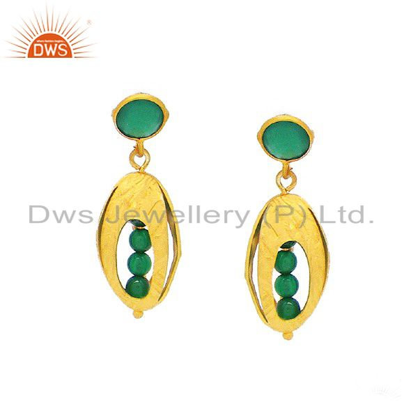 Handmade Green Onyx Gemstone Earrings Made In 18K Yellow Gold Over Silver
