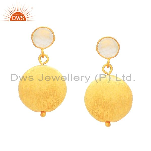 22K Matte Gold Plated Sterling Silver Rose Chalcedony Disc Designer Earrings