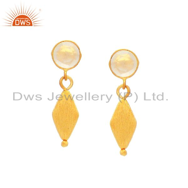 22K Gold Plated Sterling Silver Matte Finish White Chalcedony Drop Earrings