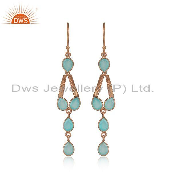 Rose Gold On 925 Silver Aqua Chalcedony Gemstone Earring