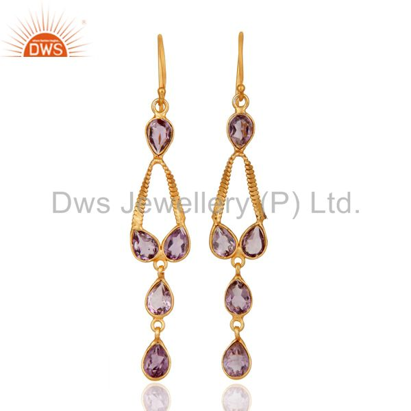 Indian Handmade 22K Gold Plated 925 Sterling Silver Amethyst Gemstone Earrings
