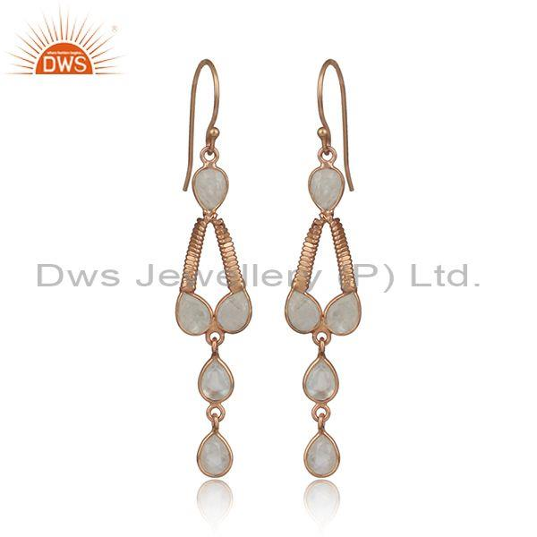 New Rose Gold On Silver Rainbow Moonstone Gemstone Earring