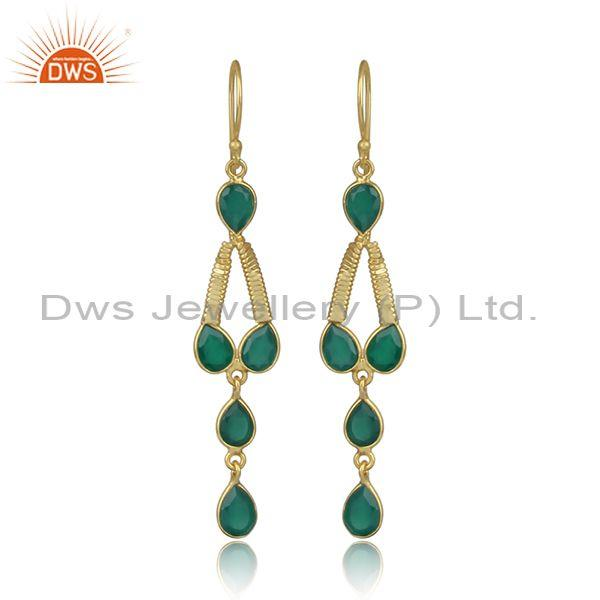 Dangle Design Gold On 925 Silver Green Onyx Gemstone Earring