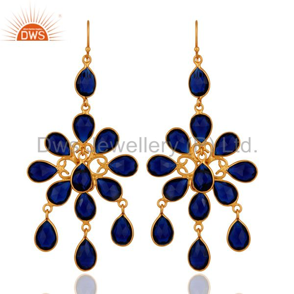 Handmade Blue Corundum 18K Yellow Gold Plated 925 Sterling Silver Earrings