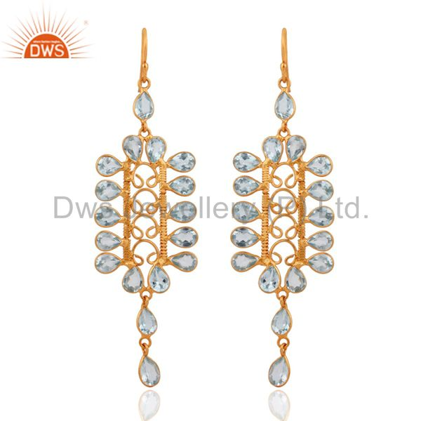 Handcrafted 925 Silver Sky Blue Topaz Gemstone Gold Plated Long Dangle Earrings