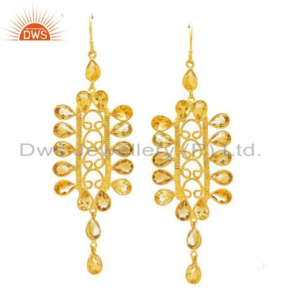22K Yellow Gold Plated Sterling Silver Citrine Gemstone Designer Dangle Earrings