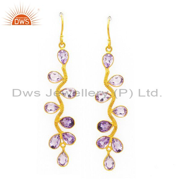 New Fashion 925 Sterling Silver Amethyst Gemstone 24k Gold Plated Hook Earrings