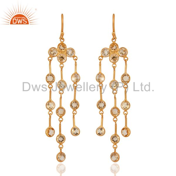 Natural Citrine Gemstone 18K Gold Plated 925 Sterling Silver Chandelier Earrings