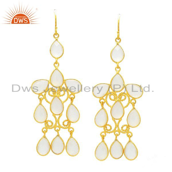 22K Yellow Gold Plated Sterling Silver White Chalcedony Chandelier Earrings