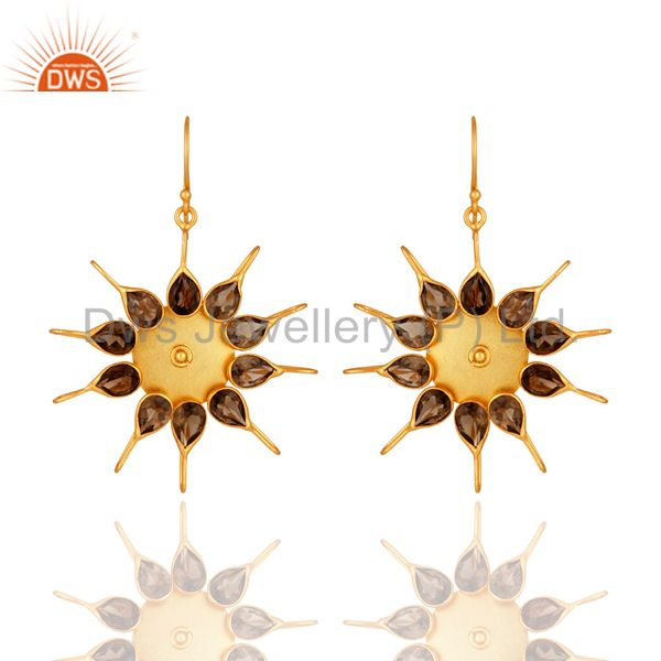 Natural Smoky Quartz Gemstone Designer Earrings Made In 14K Yellow Gold Plated