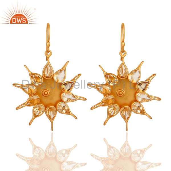 Hadnmade Citrine Gemstone 925 Sterling Silver Gemstone Earring With Gold Plated
