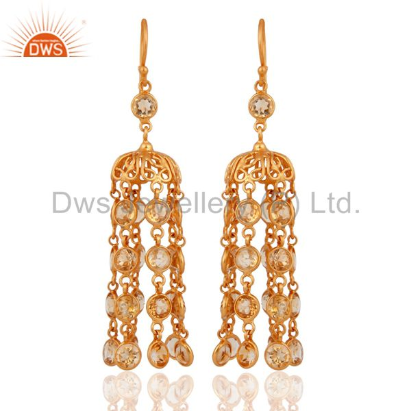 Antique Style 925 Sterling Silver With Gold-Plated Citrine Chandelier Earrings