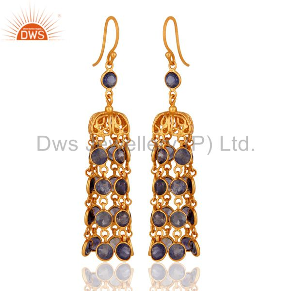 22K Yellow Gold Plated 925 Sterling Silver Iolite Gemstone Dangle Earring