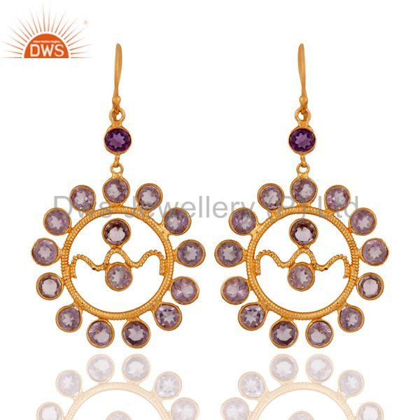 Handmade Amethyst Gemstone 925 Sterling Silver Earring With Gold Plated