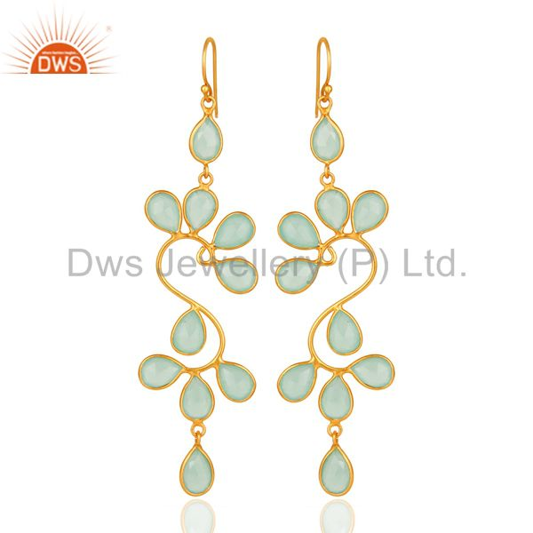 Created Aqua Blue Chalcedony Handmade Sterling Silver Earrings With Gold Plated