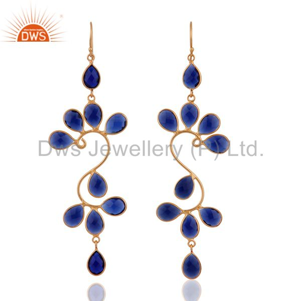 18K Yellow Gold Plated Sterling Silver Blue Corundum Designer Dangle Earrings