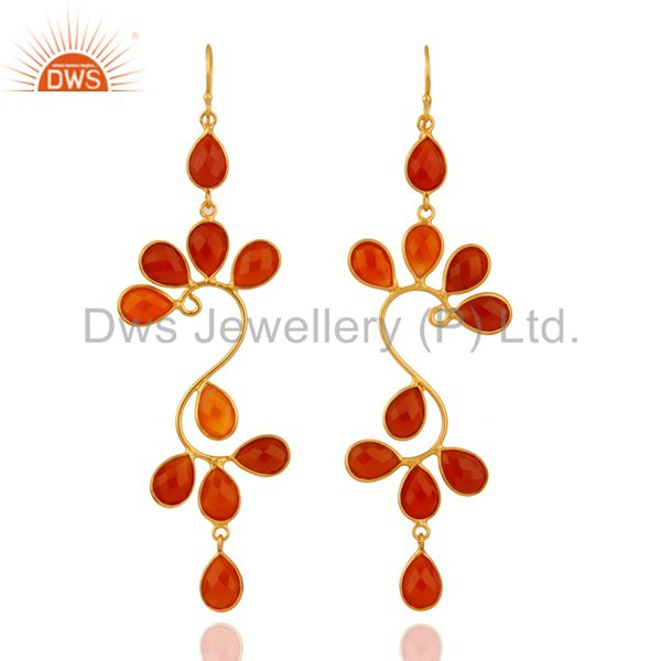 18K Gold Plated Sterling Silver Carnelian Gemstone Designer Dangle Earrings