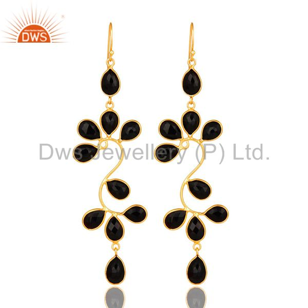 22K Yellow Gold Plated Sterling Silver Black Onyx Gemstone Dangle Earrings
